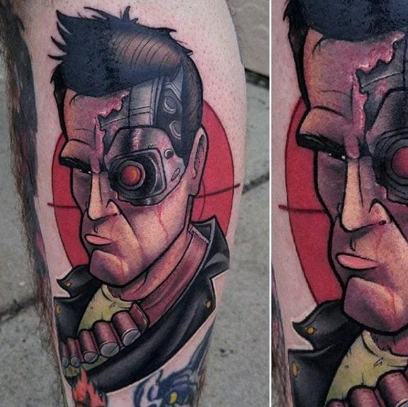 Cool Modern Terminator Mens Tattoo Of Arnold Schwarzenegger