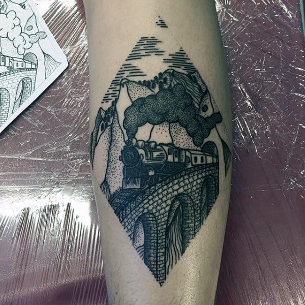 Cool Modern Train Tattoo For Guys