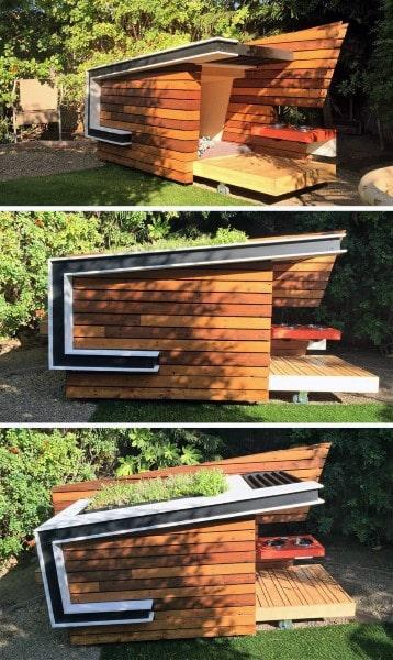 Cool Modern Wood Slat Dog House Ideas