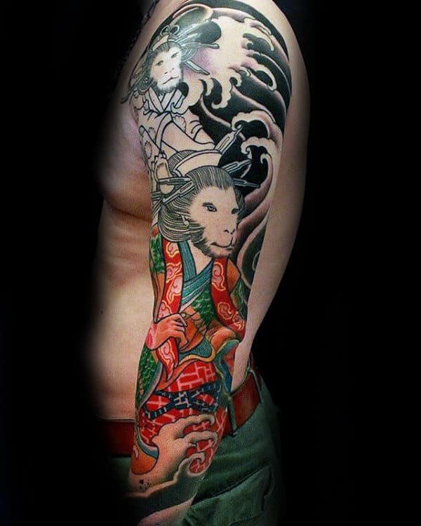 Cool Monkey King Chinese Guys Full Sleeve Tattoo Ideas