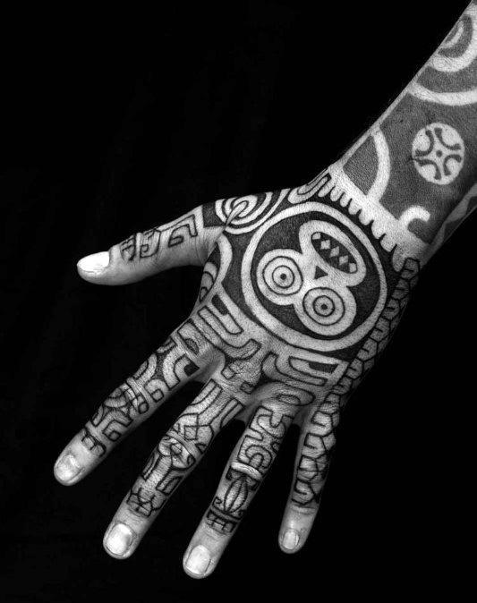 Cool Monkey Tribal Male Hand Tattoo