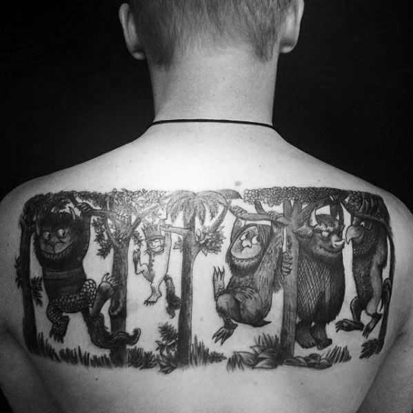 Cool Monsters Hanging From Trees Mens Where The Wild Things Are Tattoo On Back