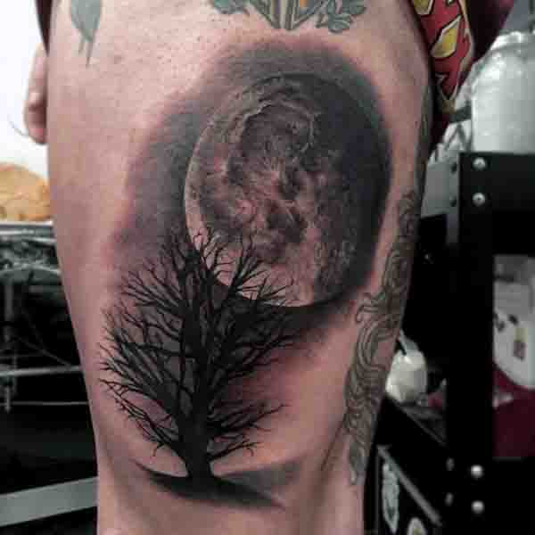 Cool Moon And Tree Mens Tattoos On Thigh