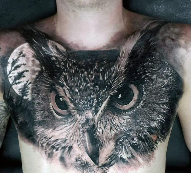 Cool Moon Light Shaded Owl Chest Tattoos For Guys