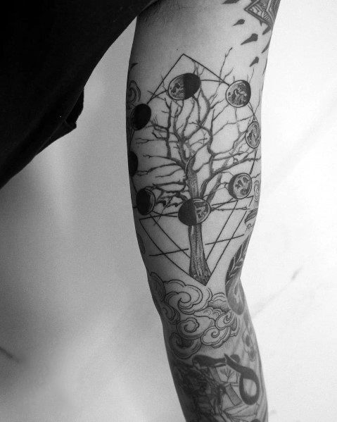 Cool Moon Phase Tree Themed Tattoo Ideas For Men