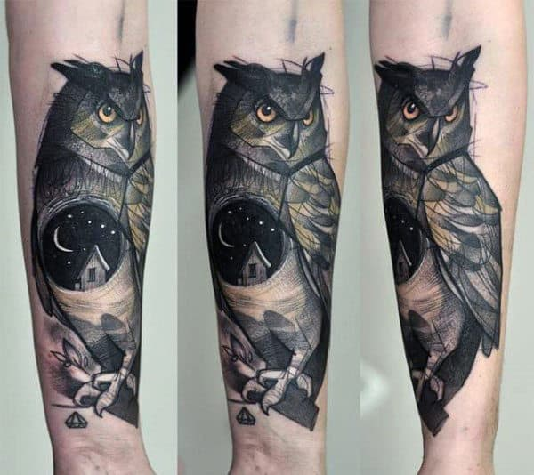 Cool Moonlit Night And Contemplating Owl Tattoo Guys Forearms