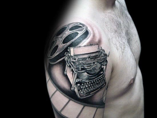 Cool Movie Themed Typewriter Tattoos For Men On Arm