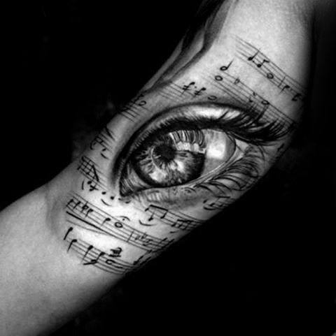 Cool Music Staff Realistic 3d Eye Inner Arm Tattoo Design Ideas For Male