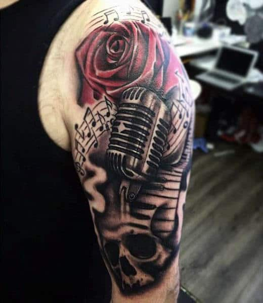 Cool Musical Tattoo With Microphone And Roses Mans Arms
