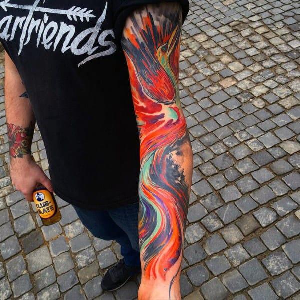 Cool Muticolored Large Beak Bird Tattoo Mens Full Sleeve