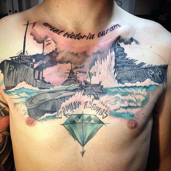 Cool Navy Submarine Guys Watercolor Chest Tattoos
