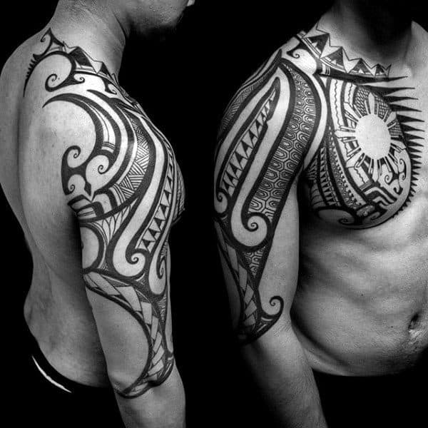 Cool Negative Space Sun Mens Arm Chest And Shoulder Tribal Tattoo Ideas