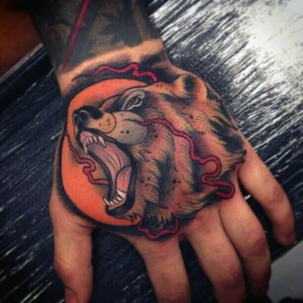 Cool Neo Traditional Bear Tattoos For Men
