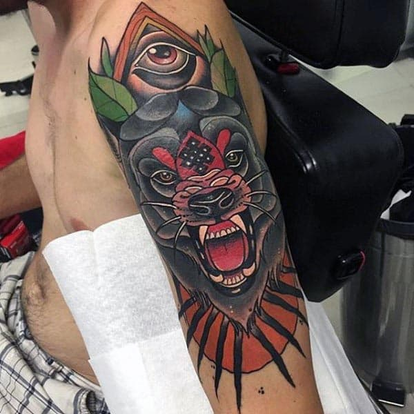 Cool Neo Traditional Guys Wolf Arm Tattoo With All Seeing Eye