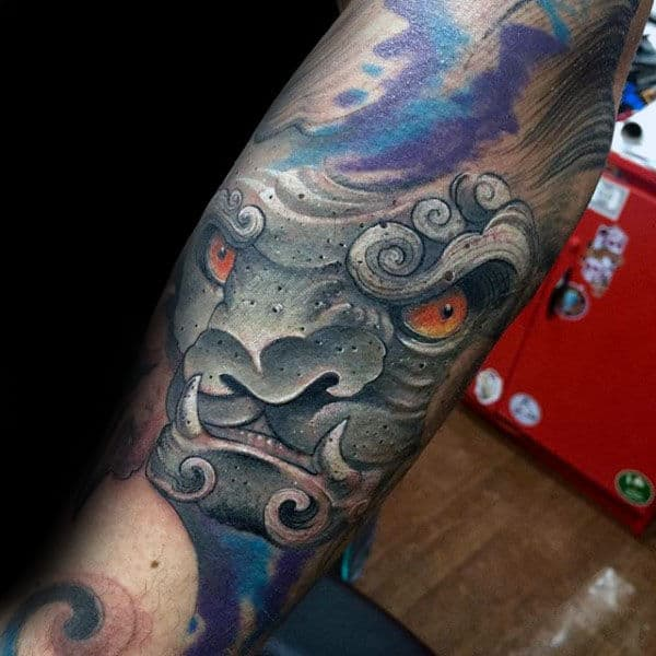 Cool New School Mens Fu Dog Forearm Tattoos