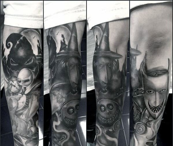 Cool Night Before Christmas Characters Mens Forearm Sleeve Tattoos