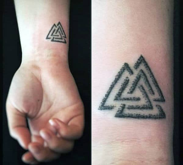 Cool Norse Mythology Mens Valknut Wrist Tattoo Designs