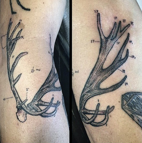 Cool Numbered Antler Arm Guys Tattoo
