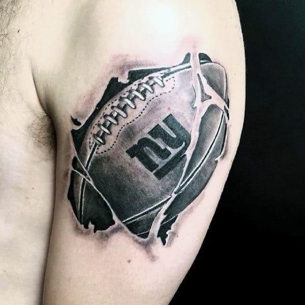 Cool Ny Football Mens Upper Arm Tattoos