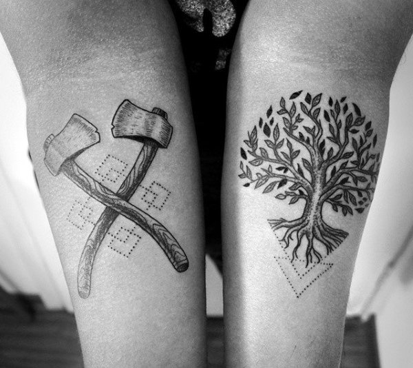 Cool Oak Tree And Spade Tattoo On Forearms Men