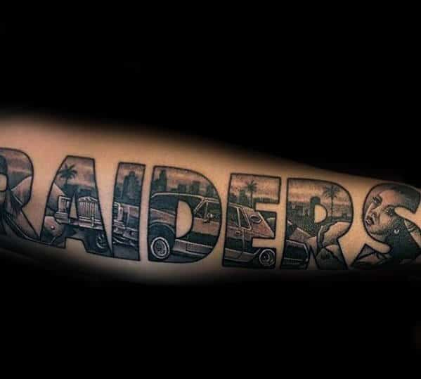 Cool Oakland Raiders Lettering Mens Chicano Outer Forearm Tattoos