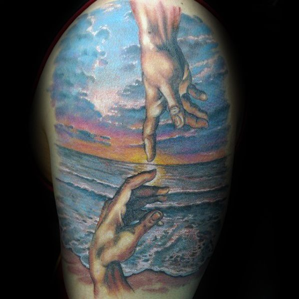 Cool Ocean Beach With The Creation Of Adam Half Sleeve Tattoo Design Ideas For Male