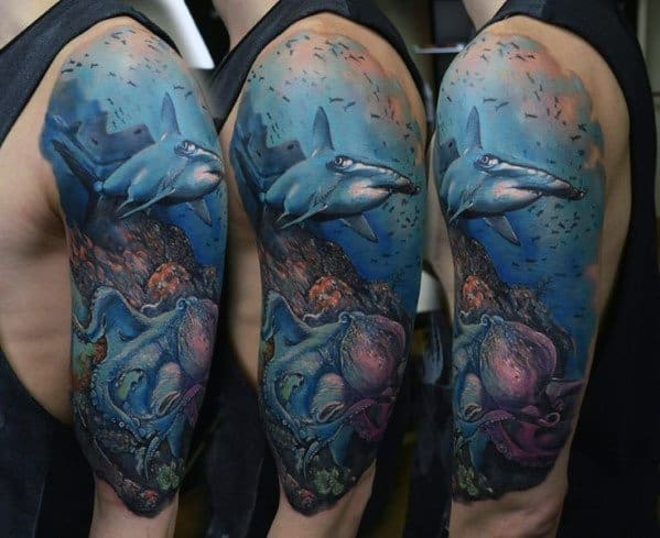 Cool Ocean Half Sleeve Tattoos For Men