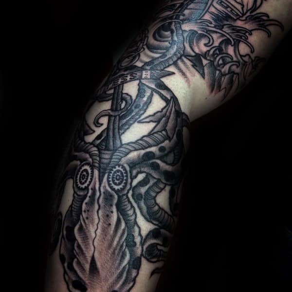 Cool Ocean Waves With Anchor Male Kraken Arm Tatto