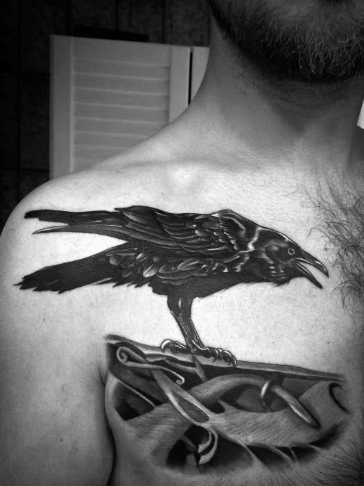Cool Odins Ravens Tattoo Design Ideas For Male