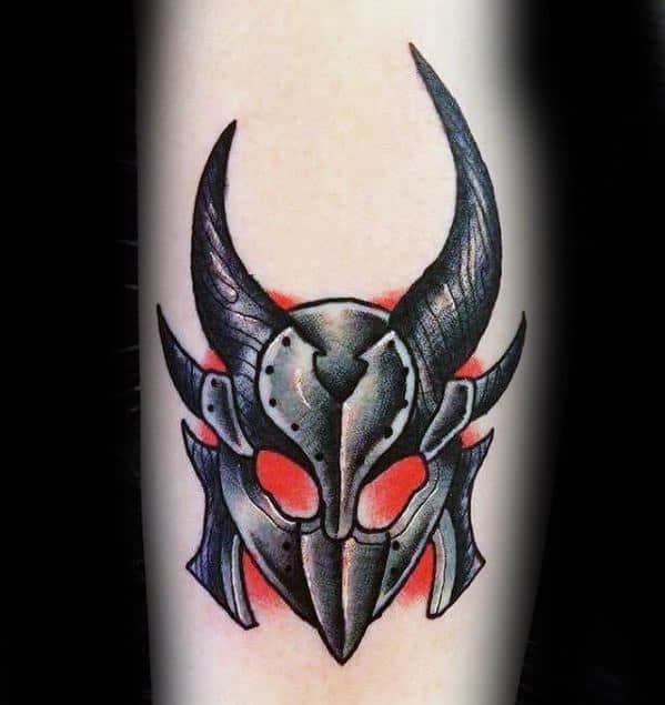 Cool Old School Traditional Forearm Skyrim Tattoo Design Ideas For Male