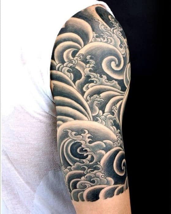 Cool Old School Waves Japanese Half Sleeve Tattoo Ideas For Guys