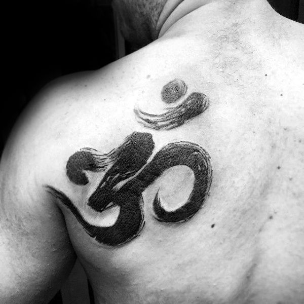 Cool Om Brush Stroke Watercolor Male Back Of Shoulder Tattoo
