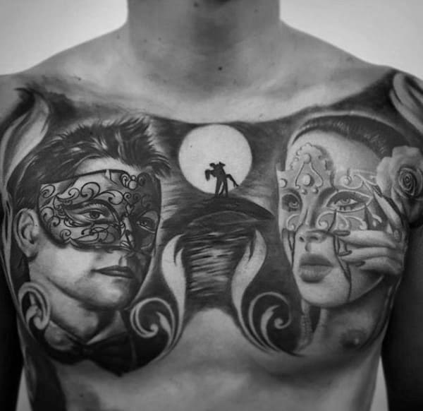 Cool Opera Mask Amazing Mens Chest Tattoos