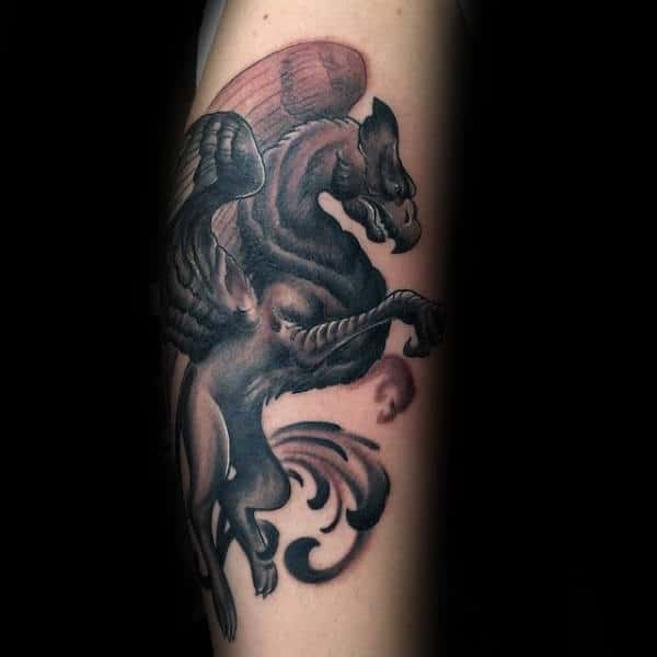 Cool Ornate Griffin Mens Forearm Tattoos