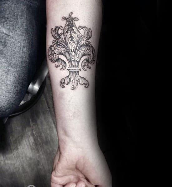 Cool Ornate Male Fleur De Lis Inner Forearm Tattoo Inspiration