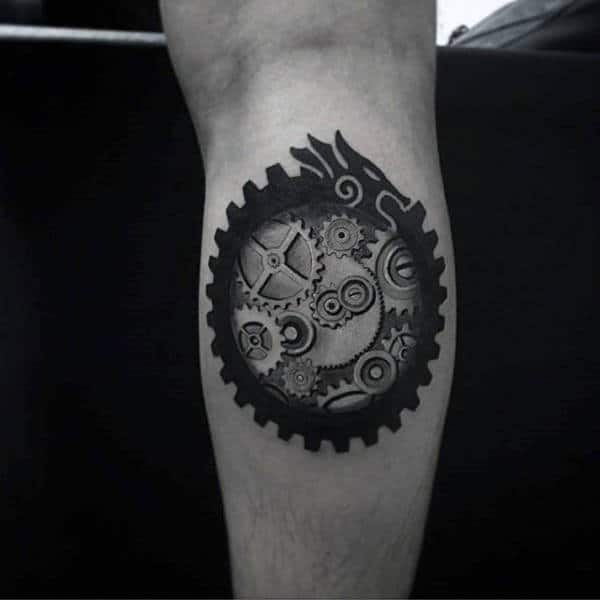 Cool Ouroboros Mens Leg Calf Gear Tattoos