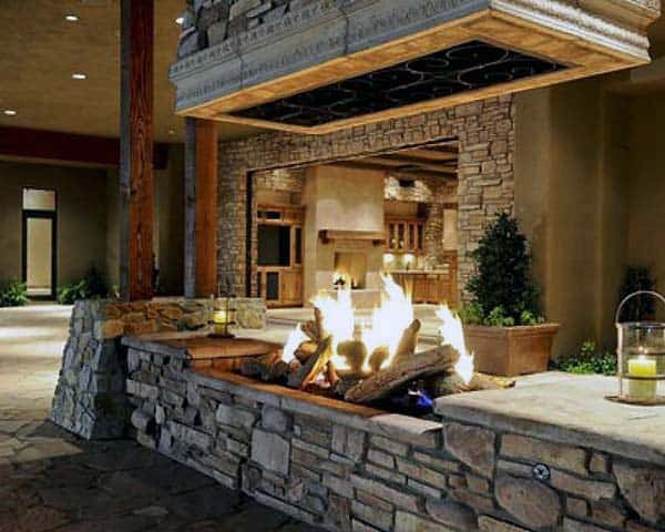 Cool Outdoor Floating Fireplace Designs
