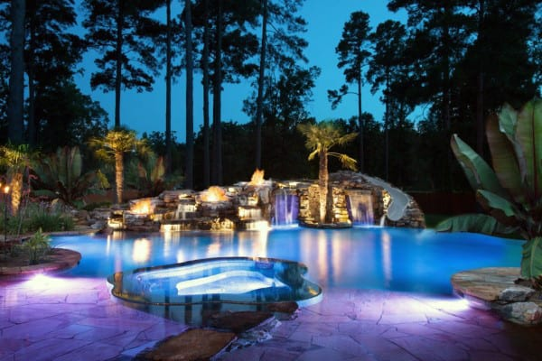 Cool Outdoor Retreat Swimming Pool With Rock Waterfalls