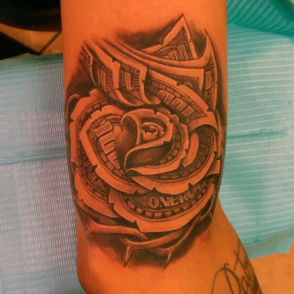 Cool Outer Bicep Thorns Money Rose Male Tattoos