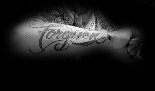 Cool Outer Forearm Black Ink Script Male Forgiven Tattoo