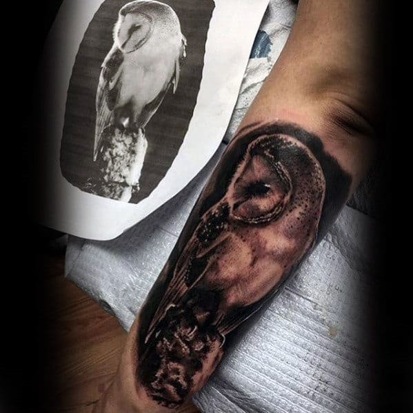 Cool Outer Forearm Realistic Barn Owl Tattoos For Men