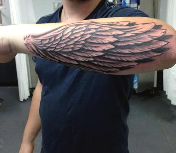 Cool Outer Forearm Wing Tattoo For Guys
