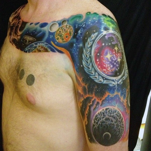Cool Outer Space Tattoo Of The Sky For Men On Arm And Chest