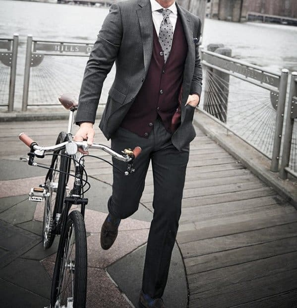 Cool Outfit Ideas For Men With Charcoal Grey Suit Brown Shoes And Burgundy Red Vest