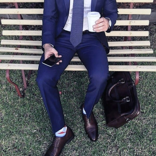 Cool Outfit Ideas For Men With Navy Blue Suit Brown Leather Dress Shoes