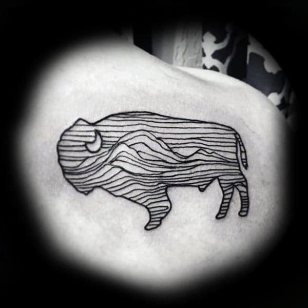 Cool Outline Black Ink Bison Moon Mens Shoulder Tattoo