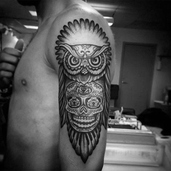 Cool Owl Skull Arm Tattoo Design Ideas For Male
