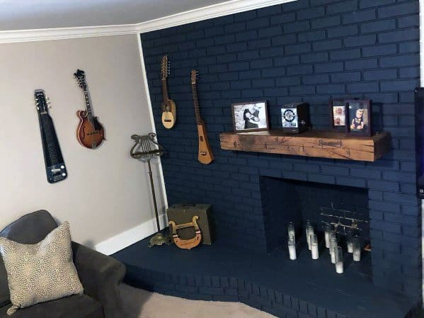 Cool Painted Fireplace Design Ideas Blue Bricks