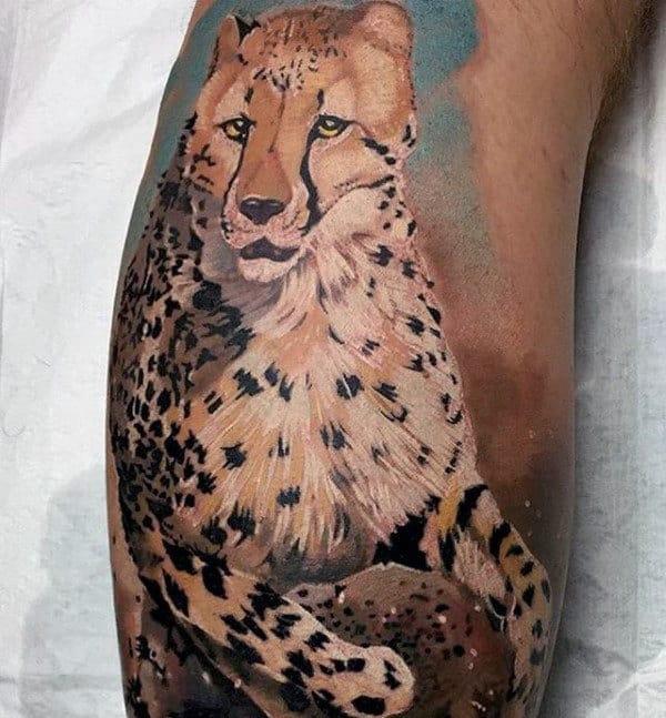 Cool Painted Leopard Mens Leg Tattoo Ideas