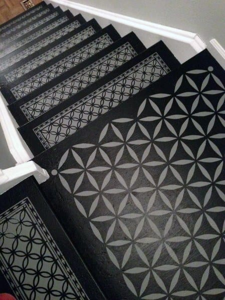 Cool Painted Staircase Design Ideas Flower Of Life Pattern Black And Grey